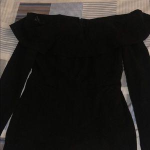 Black off the shoulder long sleeve Jumpsuit